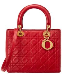 Dior Christian Red Quilted Lambskin Leather Medium Lady