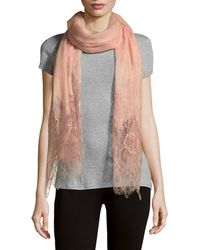Valentino - Textured Linen & Lace Stole - Lyst