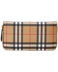 Burberry Vintage Check And Leather Ziparound Wallet - Black
