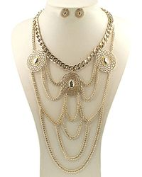 Gottex - 18k Plated Chain Drapped Necklace & Drop Earrings Set - Lyst