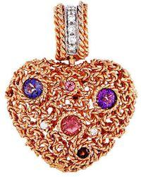 Roberto Coin - 18k Two-tone 0.17 Ct. Tw. Diamond & Gemstone Pendant - Lyst