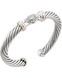 David Yurman - Vintage 18k White Gold, Sterling Silver & 0.20 Total Ct. Diamond Buckle Bracelet - Lyst