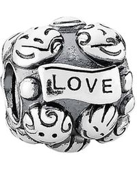 PANDORA Silver Love & Family Charm - Metallic