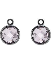 PANDORA - Elegance Silver Amethyst Earring Charms - Lyst