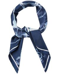 Chanel - Blue & White Silk Scarf - Lyst