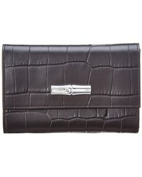 Longchamp - Roseau Croc-embossed Leather Compact Wallet - Lyst
