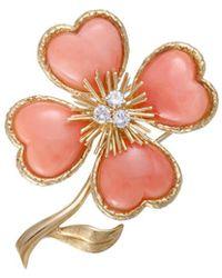 Heritage Van Cleef & Arpels - Van Cleef & Arpels 18k 0.48 Ct. Tw. Diamond & Coral Brooch - Lyst