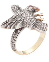 Amrapali - 14k, Ruby & 1.10 Ct. Tw. Diamond Bird Ring - Lyst