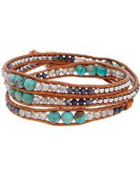 Chan Luu - Silver Gemstone Leather Bracelet - Lyst