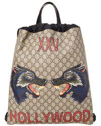 Gucci - Gg Supreme Hollywood Print Drawstring Backpack - Lyst