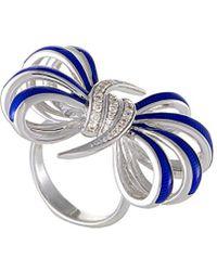 Stephen Webster - Silver & Rhodium 0.26 Ct. Tw. Diamond & Enamel Ring - Lyst