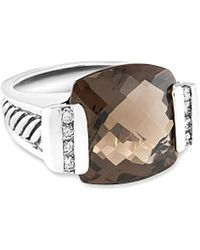 David Yurman - David Yurman Deco Silver 0.39 Ct. Tw. Diamond & Quartz Ring - Lyst