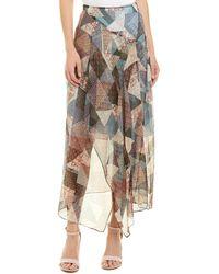 b31c19d4d9 BCBGMAXAZRIA - Pottery Patchwork Draped Silk-blend Skirt - Lyst