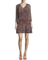 Ella Moss - Printed Silk Dress - Lyst