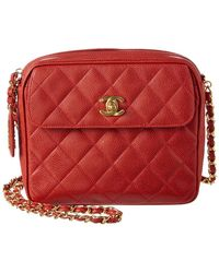 Chanel - Red Quilted Caviar Leather Medium Pocket Camera Bag - Lyst