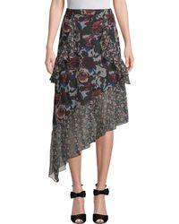 Anna Sui - Birds & Roses Silk Skirt - Lyst