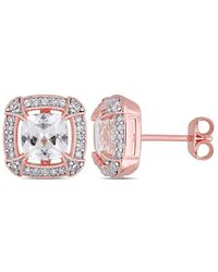 Rina Limor - Fine Jewelry 18k Rose Gold Over Silver 2.84 Ct. Tw. Diamond & Created White Sapphire Studs - Lyst