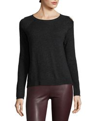 White + Warren - Wool-blend Cutout Sweater - Lyst