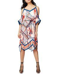RACHEL Rachel Roy - Scarf Print Cold-shoulder Dress - Lyst