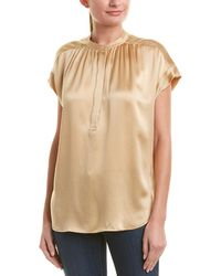 Vince - Shirred Silk Pullover - Lyst