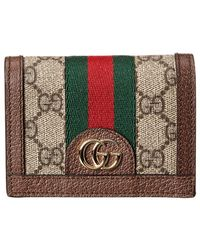 5d35f7727930 Gucci - Ophidia GG Supreme Canvas & Leather Card Case - Lyst