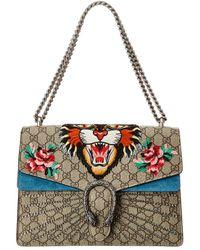 1891fb97957 Gucci - Dionysus Tiger Embroidered GG Supreme Canvas   Suede Shoulder Bag -  Lyst
