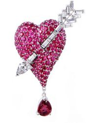 Dior - 18k 7.00 Ct. Tw. Diamond & Spinel Brooch - Lyst