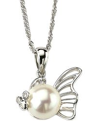Samuel B Fine Jewelry - Samuel B. Fine Jewelry 14k Diamond & 1.2mm Pearl Fish Pendant Necklace - Lyst