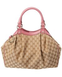 Gucci - Brown GG Canvas & Pink Leather Sukey - Lyst