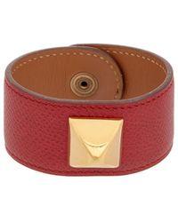 Hermès - Red Leather Medor Bracelet - Lyst