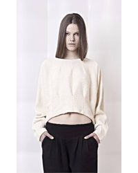 Gaffer And Fluf | Crème Cropped Knit Cotton Jumper | Lyst