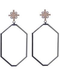 Madstone - Large M8 White Black Post Earrings - Lyst