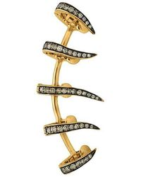 Christina Debs - Five Needles Pink Gold And Brown Diamond Ear Cuff - Lyst