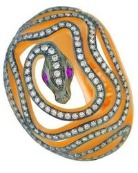 Christina Debs | Snake Pink Gold And Diamond Ring | Lyst
