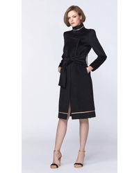 Plakinger | Black Wool Coat With Gold Stripes | Lyst