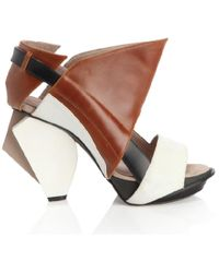 Abcense | Lorac Brown Leather Sandals | Lyst