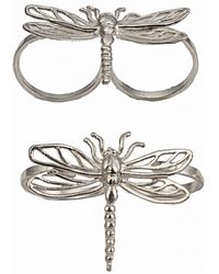 Bernard Delettrez - Two Finger Silver Ring With Dragonfly - Lyst