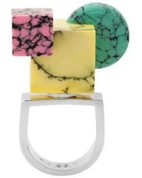 Eshvi | Back To School Marble Shapes Ring | Lyst