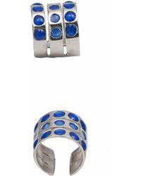 Bernard Delettrez - Triple Band Silver Ring With Blue Enamel Dots - Lyst