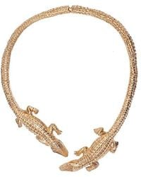 Bernard Delettrez - Double Crocodile Bronze Necklace - Lyst