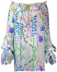 Plakinger - Fantasy Print Silk Georgette Mini Dress - Lyst