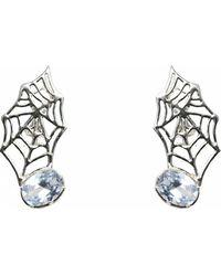 Bernard Delettrez | Web Silver Earrings | Lyst