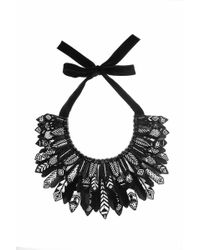 Forest Of Chintz   Black & White Aztec Plume Collar   Lyst