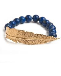 Leivan Kash - Gold Feather Bead Bracelet - Lyst