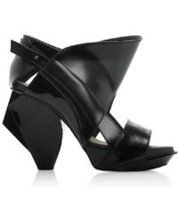 Abcense - Lorac Black Leather Sandals - Lyst