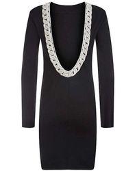 Balmain - Embroidered Black Cotton Jersey Open Back Mini Dress - Lyst