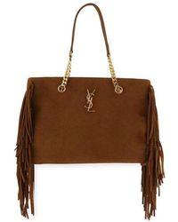 34c75c60cf Saint Laurent - Saint Laurent Large Monogram Suede Fringe Tote Shopper Bag  - Lyst