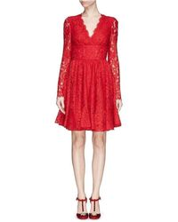 Dolce & Gabbana - Red Fringe Trimmed Lace Flounce Dress - Lyst