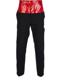 Moncler - Gamme Bleu Red Leather Contrast Waist Band Trousers - Lyst