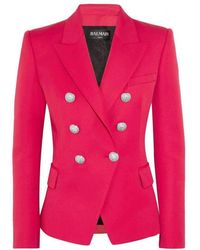 Balmain - Red Double Breasted Wool Jacket - Lyst